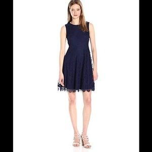 Jessica Simpson Navy Fit and Flare Lace Dress